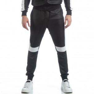 Pantaloni sport de bărbați negri cu alb  2