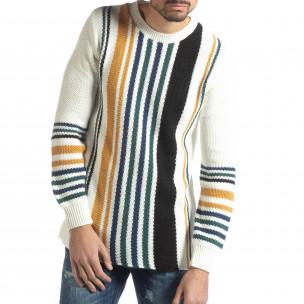 Pulover pentru bărbați alb cu dungi colorate