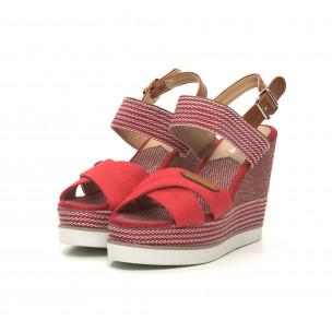 Sandale de dama denim roșu cu platformă înaltă 2