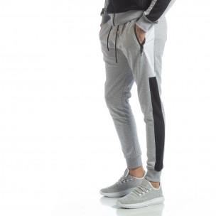 Pantaloni de trening de bărbați gri cu benzi