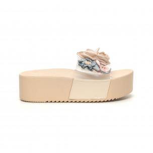 Papuci de dama bej cu baretă transparentă