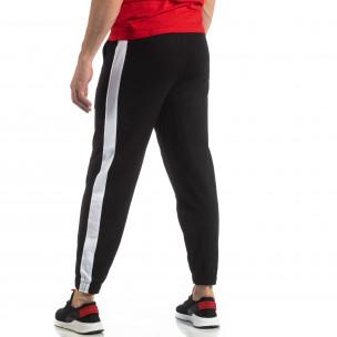 Pantaloni de trening pentru bărbați în negru cu bandă  2