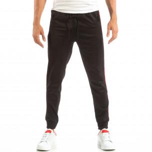 Pantaloni sport negri pentru bărbați cu banda 3 striped  2