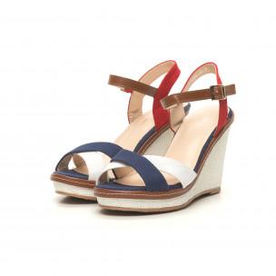Sandale de dama în albastru, alb și roșu 2