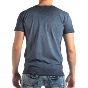Tricou albastru de bărbați stil Vintage  2