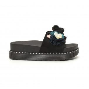 Papuci pentru dama negri cu flori