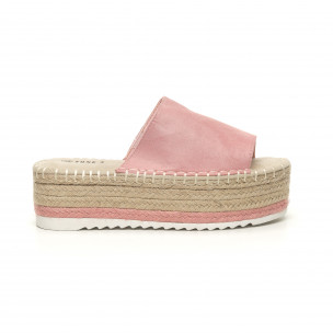 Papuci de dama roz tip espadrile