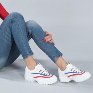 Pantofi sport albi de dama cu decor albastru și roșu