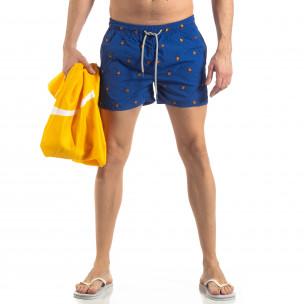 Costum de baie albastru deschis pentru bărbați motiv Ladybug