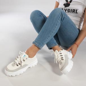 Pantofi sport de dama în alb cu talpă groasă