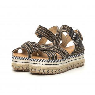Sandale de dama tip espadrile cu platformă decorată 2
