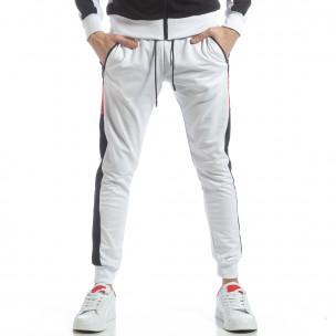 Pantaloni de trening de bărbați albi cu benzi  2