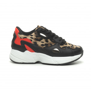 Pantofi sport de dama roșu și leopard cu talpă groasă
