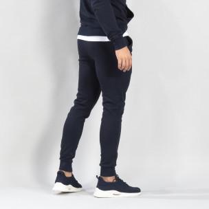 Pantaloni de trening de bărbați Basic bleumarin din bumbac