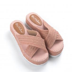 Papuci de dama roz împletiți 2