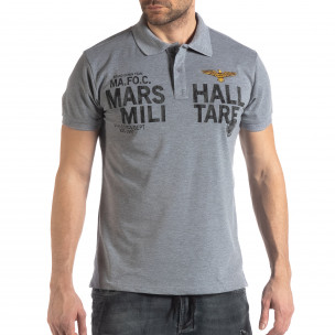 Tricou polo gri Marshall Militare pentru bărbați  2