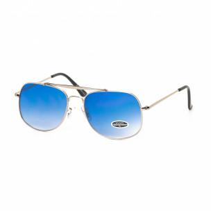 Ochelari de soare albaștri cu rama argintie