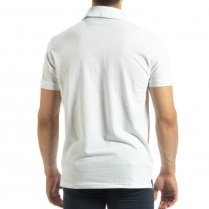 Polo shirt alb pentru bărbați  2