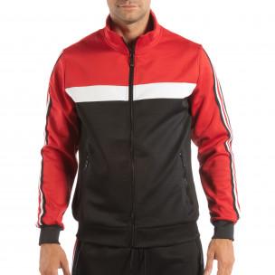 Hanorac negru 5 striped cu roșu pentru bărbați