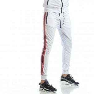 Pantaloni de trening albi cu benzi pentru bărbați