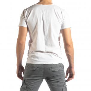 Tricou alb de bărbați stil Vintage  2