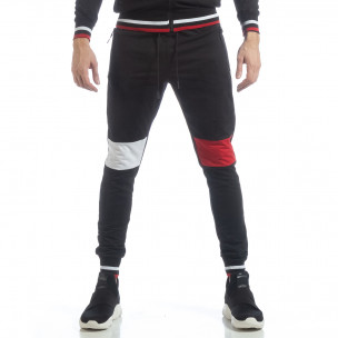 Pantaloni sport de bărbați negri cu accente