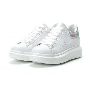 Pantofi sport albi de dama cu călcâi multicolor  2