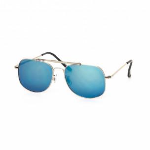 Ochelari de soare Oglindă albaștri cu rama argintie
