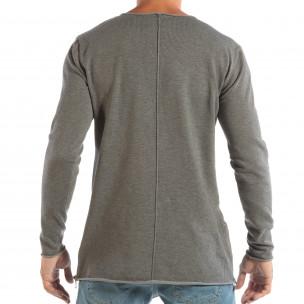 Bluză gri din material tricotat cu fermoare pentru bărbați 2