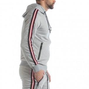 Hanorac pentru bărbați gri 5 striped