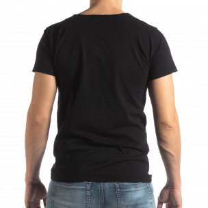 Tricou negru de bărbați stil Vintage  2
