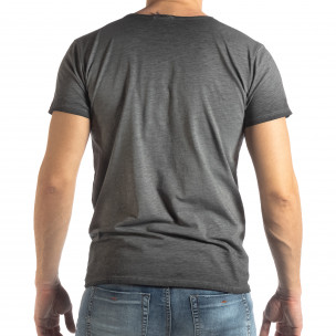 Tricou gri de bărbați stil Vintage  2