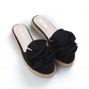 Papuci de dama negri tip espadrile 2