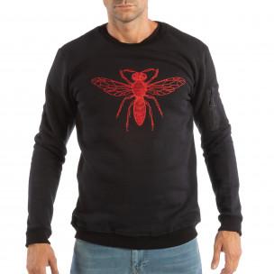 Bluză neagră matlasată pentru bărbați cu broderie