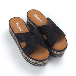 Papuci de dama negri împletite cu platformă 2