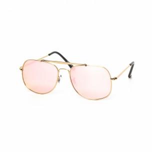 Ochelari de soare Oglindă roz cu rama aurie