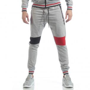 Pantaloni sport de bărbați gri cu accente