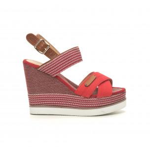 Sandale de dama denim roșu cu platformă înaltă