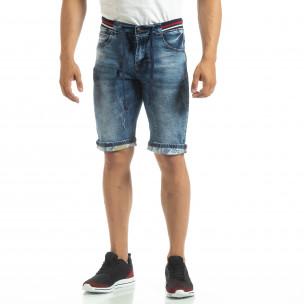 Bermude de blugi albaștri cu manșete pentru bărbați