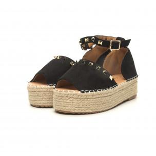 Sandale de dama negre cu capse tip espadrile 2