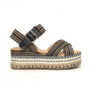 Sandale de dama tip espadrile cu platformă decorată
