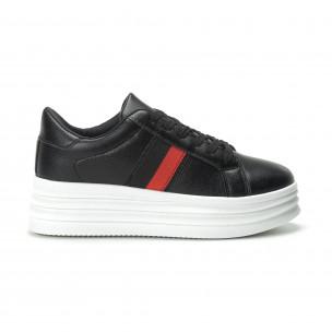 Pantofi sport negri cu decor pentru dama