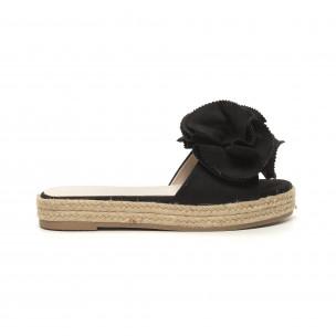Papuci de dama negri tip espadrile