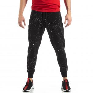 Pantaloni sport de bărbați negri cu spray  2