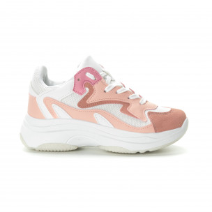 Pantofi sport de dama roz cu talpă înaltă