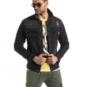 Jachetă din denim elastic negru pentru bărbați