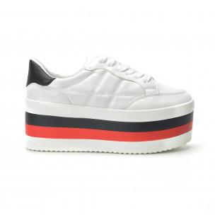 Teniși albi cu platforma înaltă pentru dama