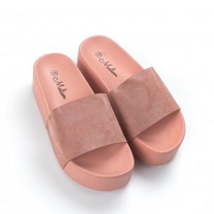 Papuci de dama roz cu platformă înaltă 2