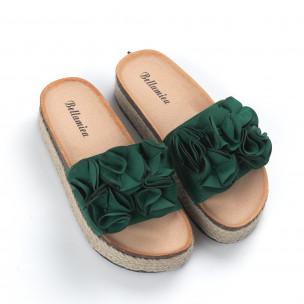 Papuci de dama verzi talpă căptuşită cu iută 2