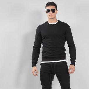 Bluză de bărbați Basic neagră din bumbac